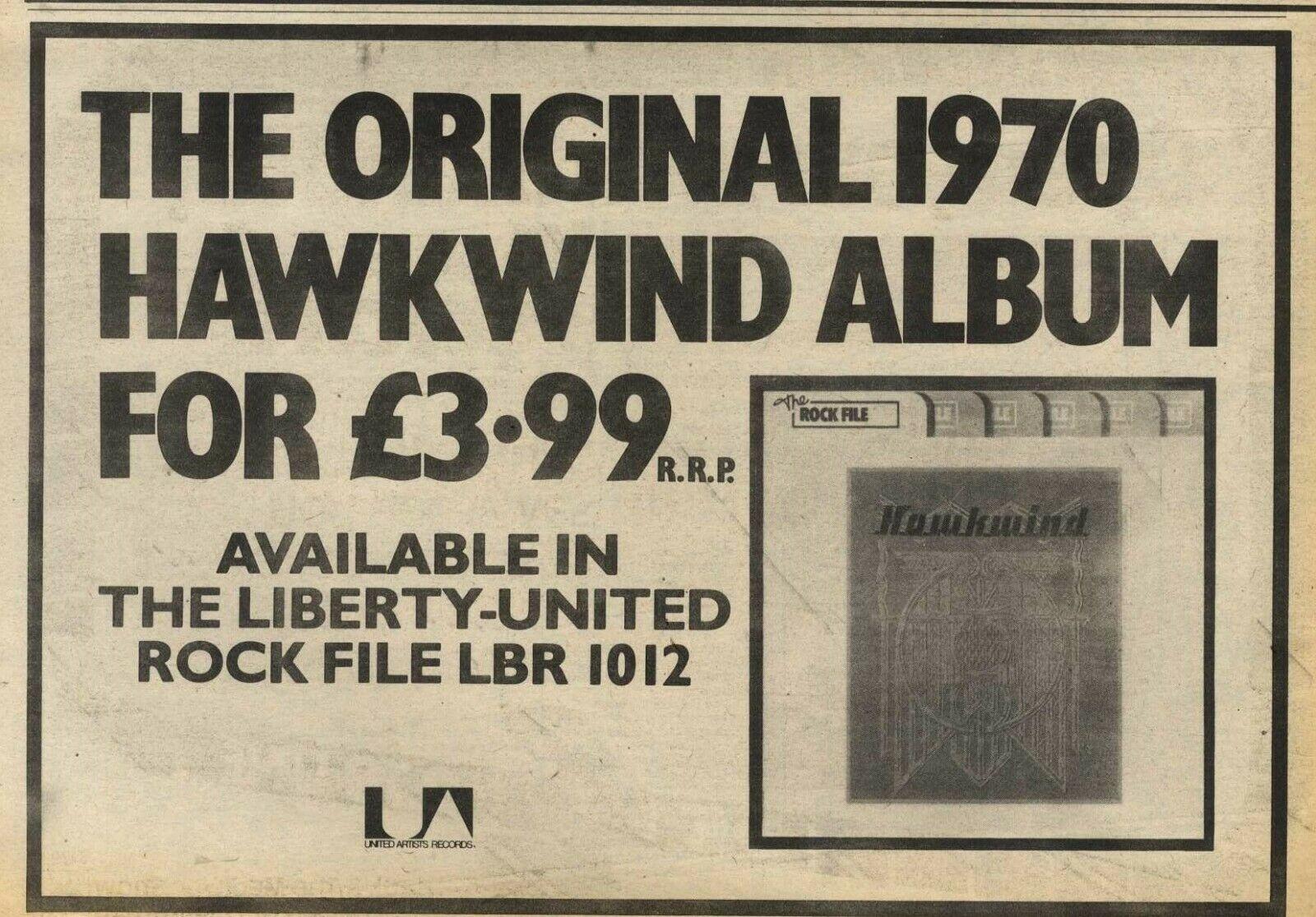 Hawkwind (Rock File reissue) UK press ad
