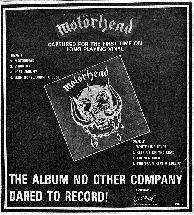 Motorhead UK press ad