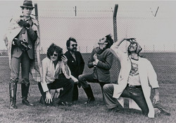 Hawklords promo shot outside GCHQ CSO Morwenstow, a satellite station & eavesdropping centre in Nort