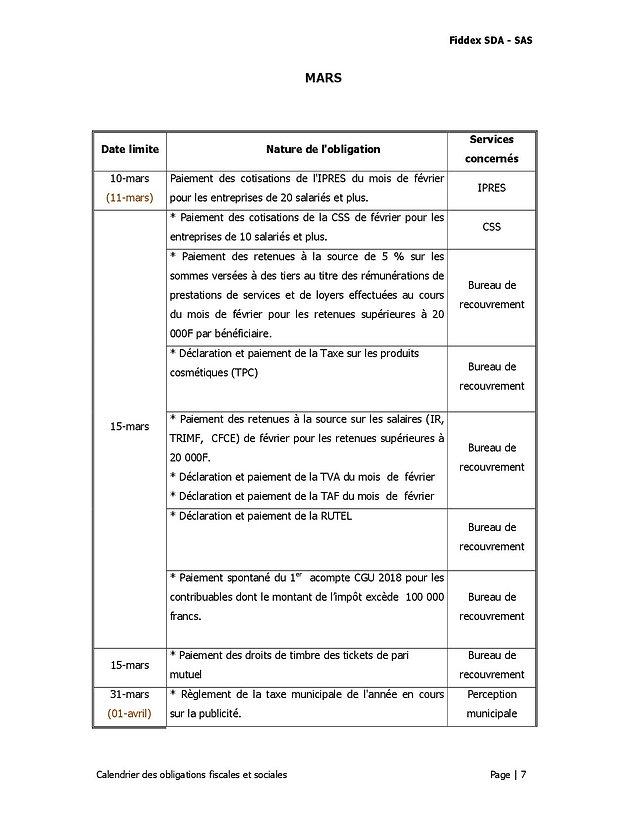 Calendrier Des Obligations Fiscales Et Sociales Du Mois De