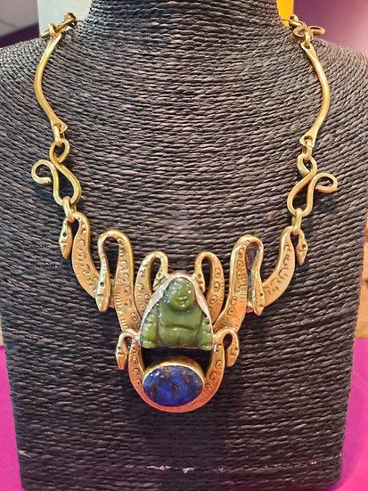 Collier Jade vert boudha/Lapis lazuli