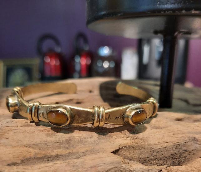 Bracelet trois pierres Oeil du tigre