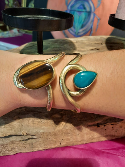 Bracelet Oeil du tigre/Turquoise