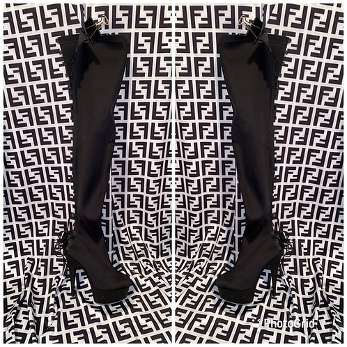 Black Lace Up Thigh High Boots