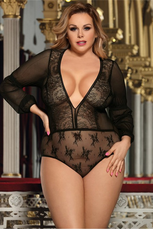Deep V Exquisite Lace Teddy