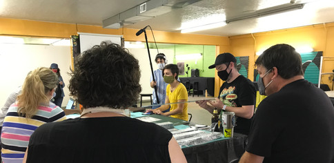 Sarah discussing with the NoCo Artists Group
