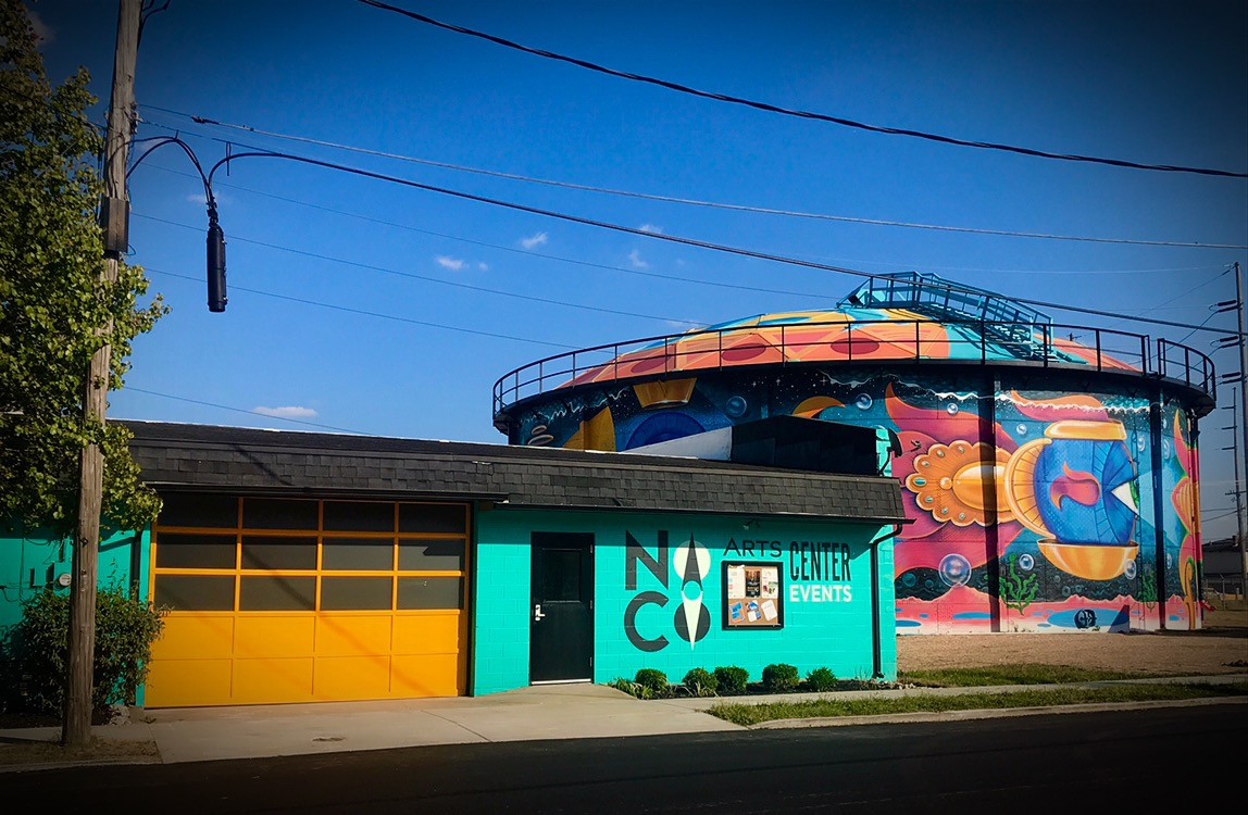 The NoCo Arts Center has the BEST NEIGHBOR in town! The water tank mural titled: Perpetual Perception, created by artist Wilfred Siegg is the focal point for the NoCo Arts & Cultural District!
