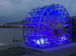 paddle wheel at night