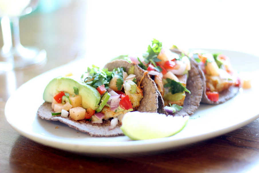 El Chile Fish Tacos on house made blue corn tortillas