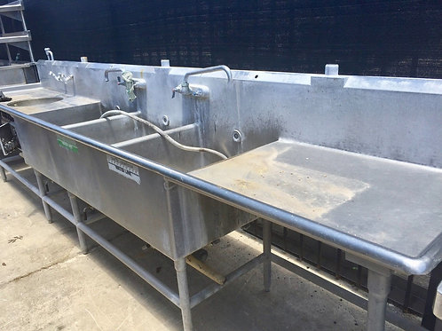 13Ft Stainless Steel 3 Compartment Sink