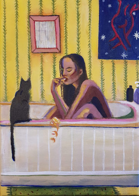 Girl with Orange and Cat