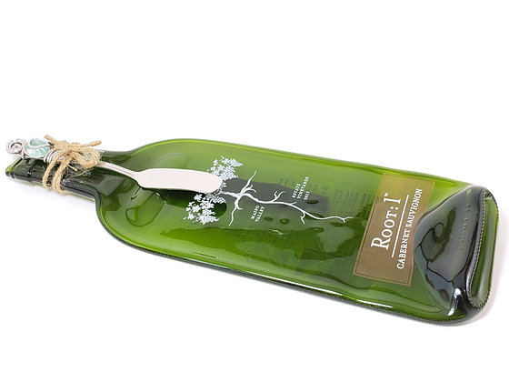 Just Squished Roots Painted Bottle Cheese Board with Just Twisted Spreader
