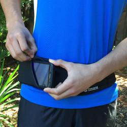 Phone slides in side pocket
