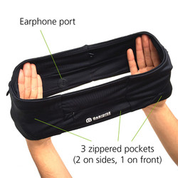 Earphone port and 3 zippered pockets