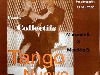 Free initiation class and new lessons Tango Nuevo 11 January at Extravadanse