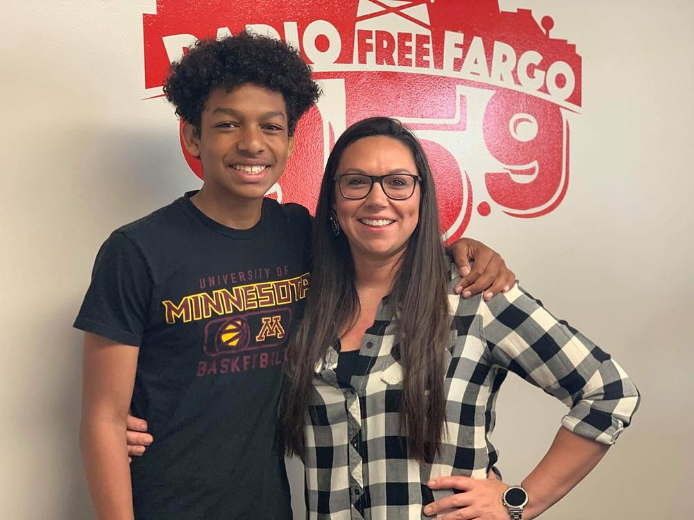 With my son DJ at Radio Free Fargo