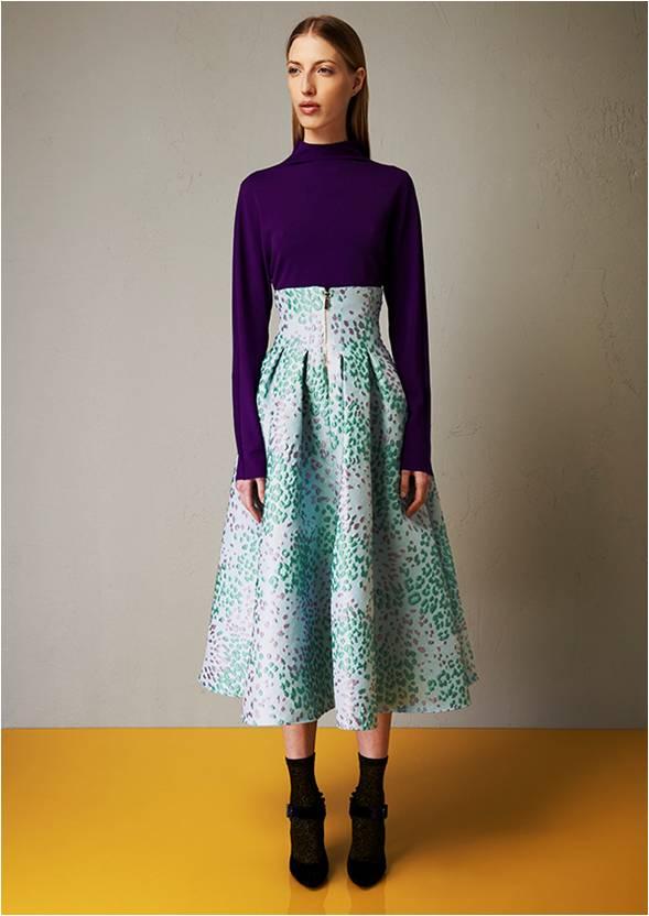 Microcrepe top Jacquard skirt