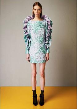 Jacquard rouches dress