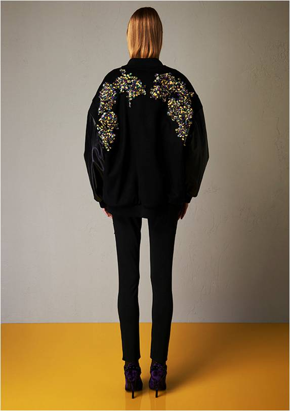 Lined satined bomber with embroidery back