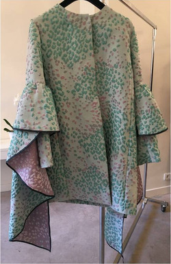 Jacquard coat with rouches