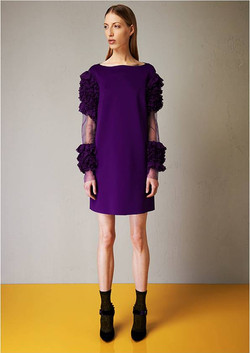 Skuba chiffon dress with rouches sleeves