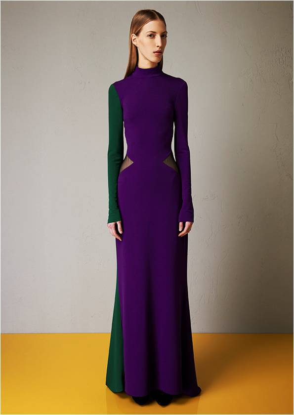 Microcrepe bicoloured dress