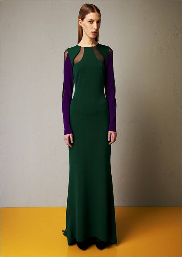 Microcrepe bicoloured long dress