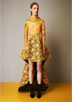 Lace macrame embroidered yellow dress