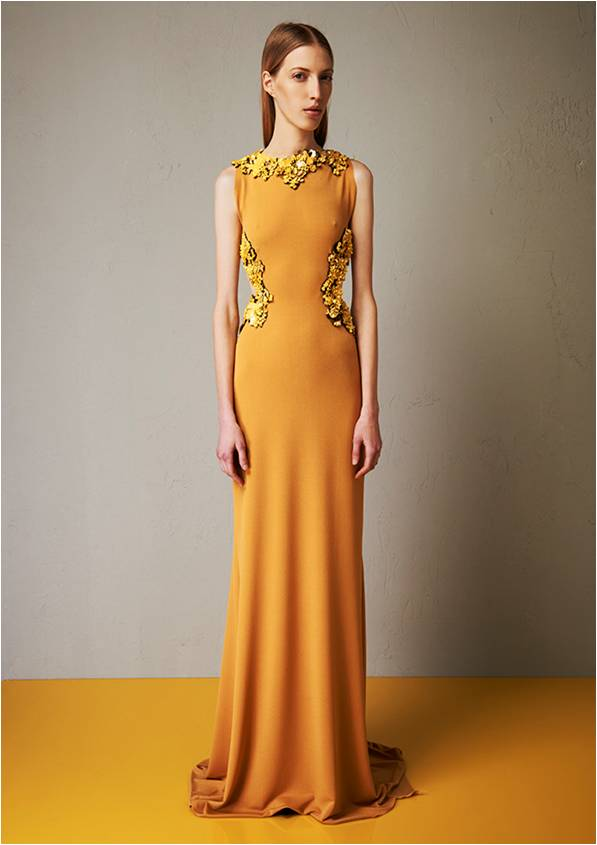 Microcrepe embroidered long dress