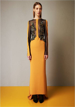 Microcrepe tulle embroidered dress