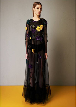 Tulle embroidered wide gown