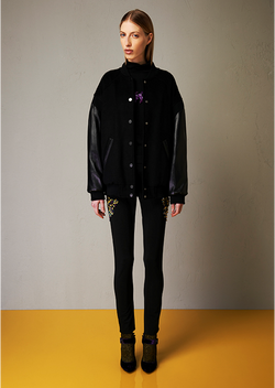Lined satined bomber with embroidery
