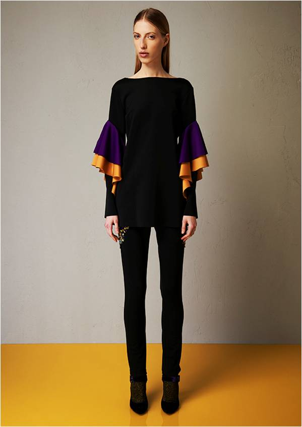 Skuba satin blouse with bicoloured rouches