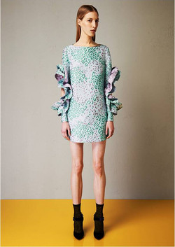 Jacquard dress with rouches sleeves