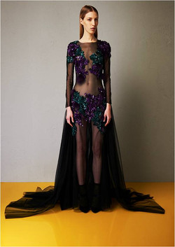 Tulle embroidered long gown