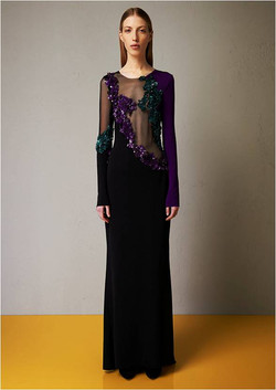 Microcrepe embroidered dress