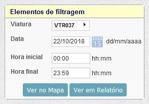 Filtro de viatura específica numa data e período de tempo