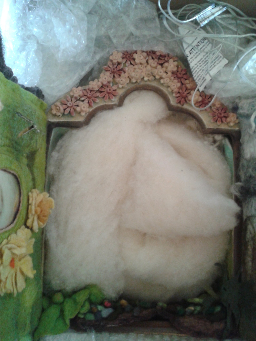 shrine stuffed with wool to hold in the goddess