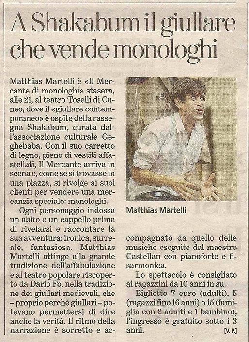 """Recensione de """"Il Mercante di Monologhi"""" al Teatro Toselli di Cuneo, con Matthias Martelli e Matteo Castellan"""
