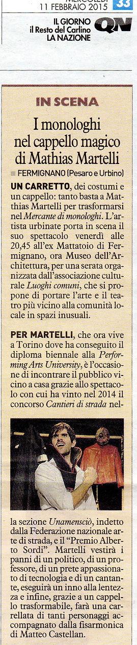 """Recensione de """"Il Mercante di Monologhi"""" di Matthias Martelli, dal giornale """"Il Resto del Carlino"""""""