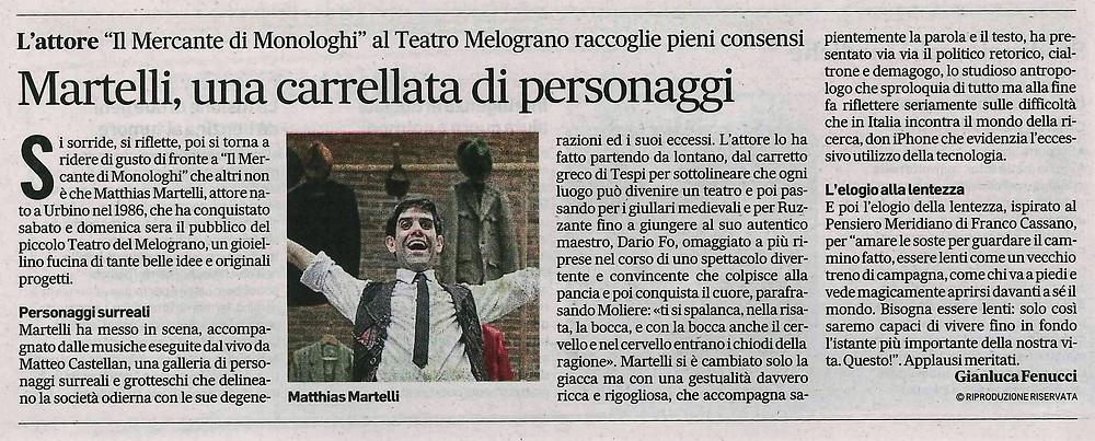 Matthias Martelli recensione - Corriere Adriatico