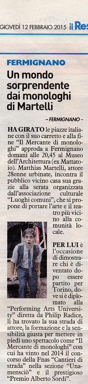 """Matthias Martelli, recensione de """"Il Mercante di Monologhi"""" de """"Il Resto del Carlino"""""""