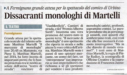 """Recensione de """"Il Corriere Adriatico"""" allo spettacolo di Teatro Comico """"Il Mercante di Monologhi"""" con Matthias Martelli e Matteo Castellan"""