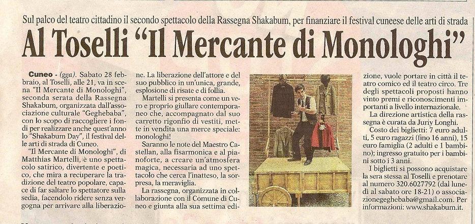 """Matthias Martelli ne """"Il Mercante di Monologhi"""", spettacolo di Teatro Comico con musica dal vivo"""