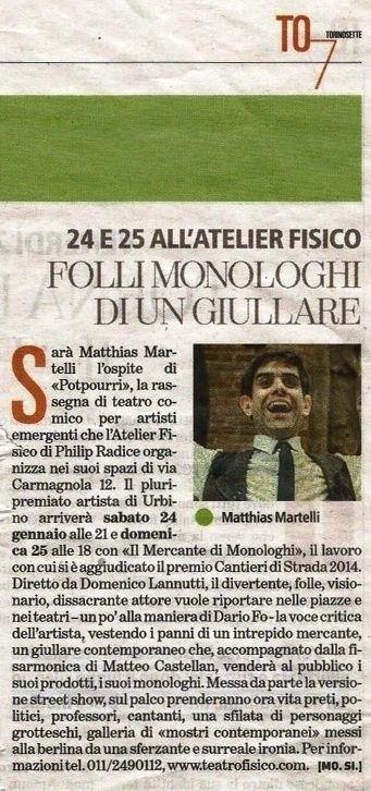 """Matthias Martelli - Recensione de """"Il Mercante di Monologhi"""" dei giornali """"La Stampa"""" e """"Torino7"""""""
