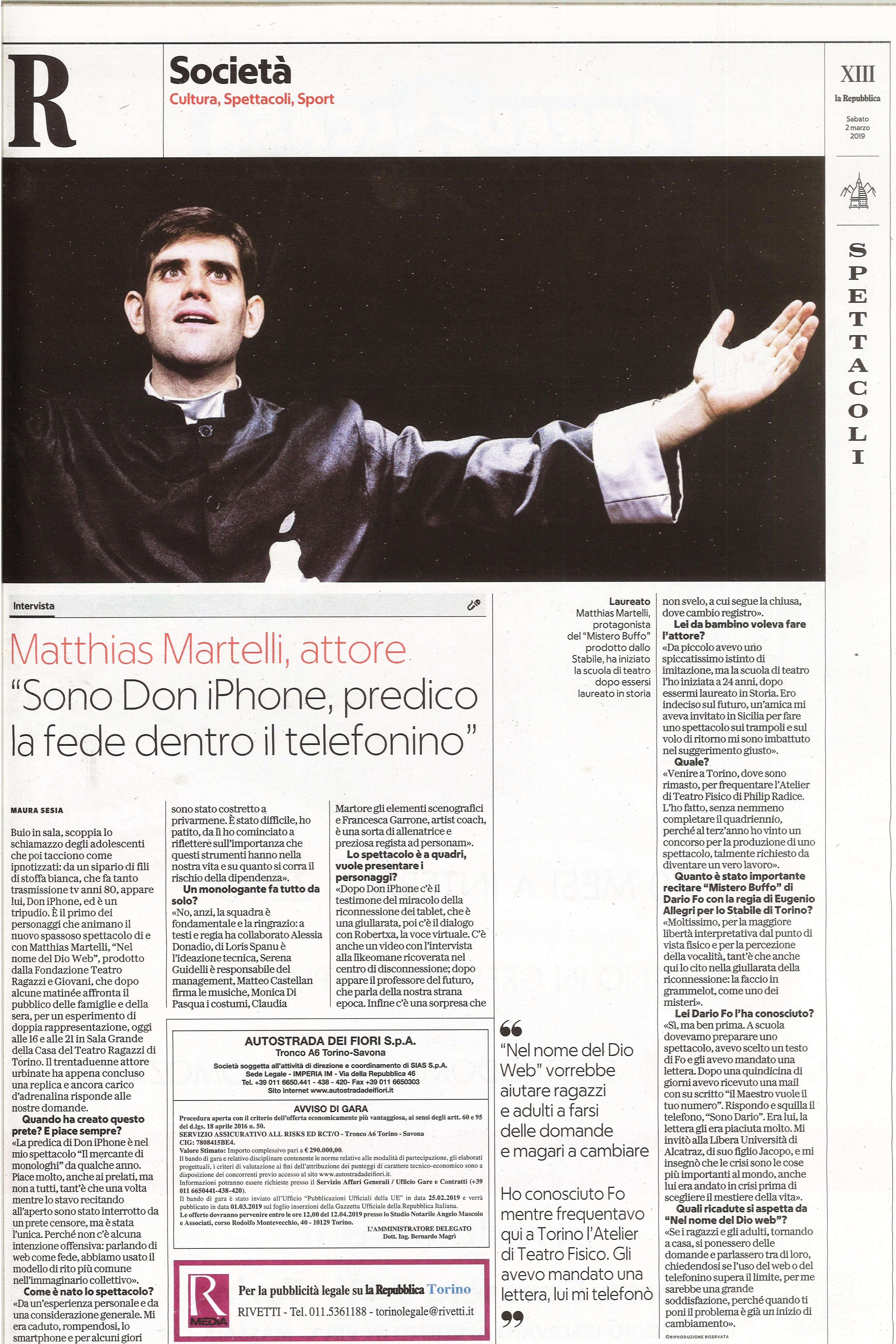 La Repubblica, 1-3-2019