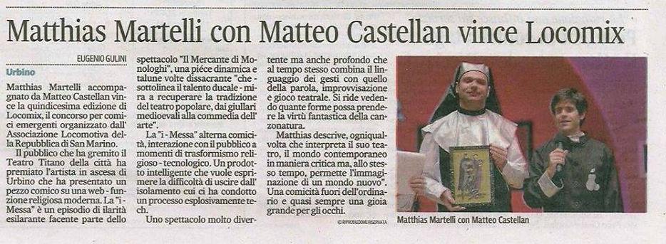 Matthias Marelli vince Locomix, Re della comicità emergente di San Marino con il monologo di Don Iphone