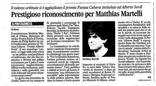 """L'attore comico Matthias Martelli vince il """"Premio Alberto Sordi"""" al Faenza Cabaret con il monologo del politico"""
