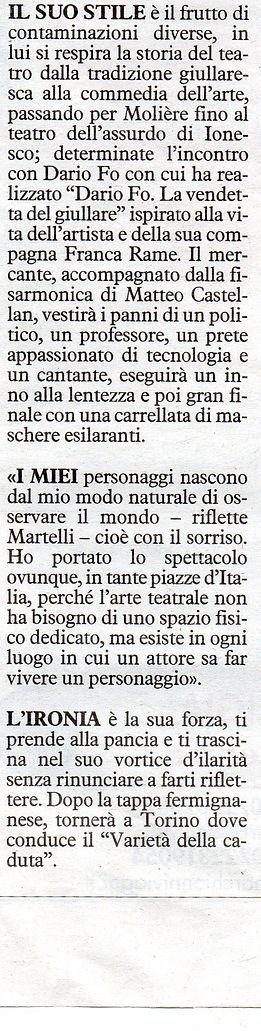 """""""Il Mercante di Monologhi"""" recensito dal giornale """"Il Resto del Carlino"""" - Matthias Martelli"""