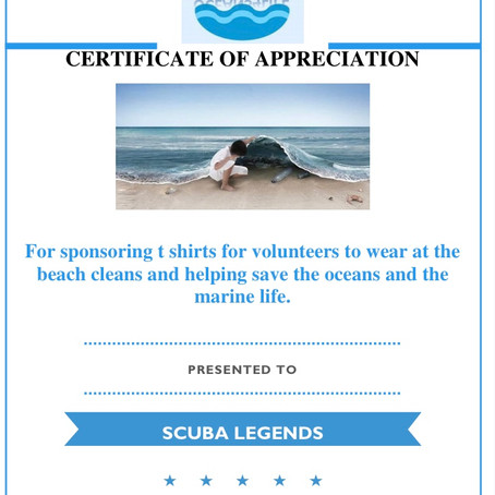 Certificate of Appreaciations for local businesses who are supporting our cause Oceans4Life